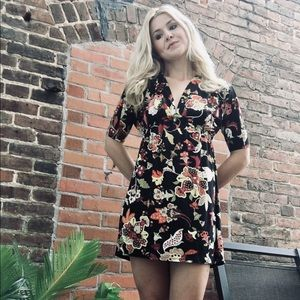 """Renee C."" Black Multicolored Floral Dress"